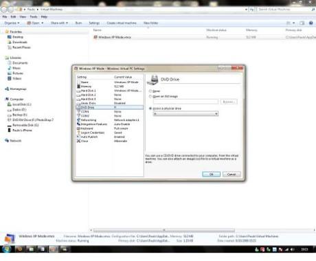 Opções da Máquina virtual com o XP.