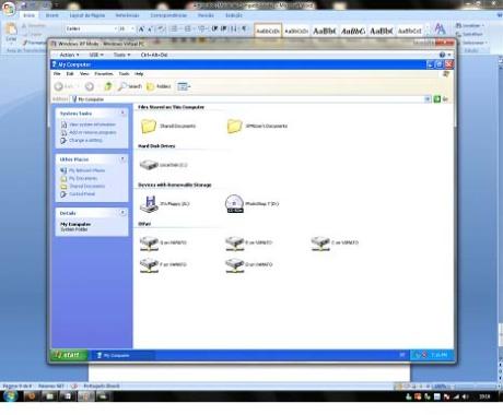 As unidades são mapeadas automaticamente como unidades de rede no Windows XP, facilitando o acesso aos arquivos.